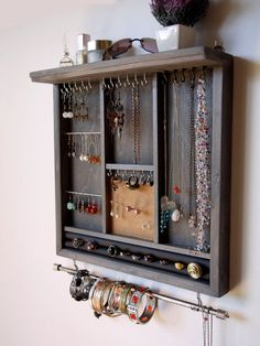 Jewelry organizer. earrings display. necklace holder. gray stain display with shelf. wooden wall mounted jewelry storage. MULTIPLE COLORS.