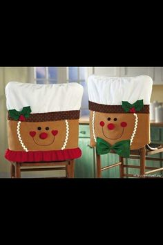 So you've got your Christmas tablecloth and holiday plates ready for the big day, but what about your chairs? Are they in the holiday spirit? If not, then why not give them a holiday makeover with some cute Christmas chair covers? The Christmas. Christmas Sewing, Christmas Projects, Christmas Home, Holiday Crafts, Holiday Fun, Christmas Holidays, Family Holiday, Homemade Christmas, Christmas Ornaments