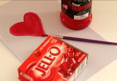 Make a fun Valentine Crafts for Kids try this Jello Painting project with kids.