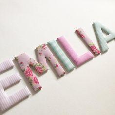 Hochwertig Stoffbuchstaben Für Greta In Rosa Gelb Und Grau #stoffbuchstaben #name  #namensbuchstaben #buchstaben #individuell #baby #baby2016 #u2026
