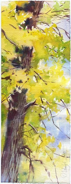 Autumn forest watercolor painting original yellow by OlgaSternyk #watercolorarts