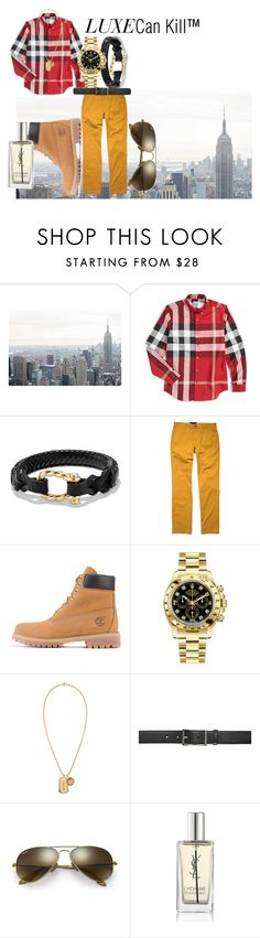 """""""#NYFW Day 3 menswear"""" by luxecankill ❤ liked on Polyvore featuring Burberry, David Yurman, Volcom, Timberland, Rolex, Versace, Ray-Ban, Yves Saint Laurent, men's fashion and menswear"""