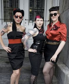 "You got: Gothabilly Gothabilly, or hellbilly, fuses Goth and rockabilly fashion. It's a goth take on '50s Americana, sort of like if Elvis Presley came back as a zombie. Everything is retro and kitsch, and there's never a hair out of place. ""Yup, that is pretty much me!"" -TF"