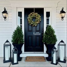 If you are looking for Modern Farmhouse Front Door Entrance Design Ideas, You come to the right place. Below are the Modern Farmhouse F. Front Door Entrance, House Front Door, House With Porch, Front Entrances, Front Door Decor, Outside House Decor, Front Door Makeover, Porch Makeover, Front Door Design