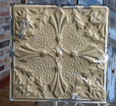"""12"""" Antique Tin Ceiling Tile -- Rusty Olive Brown Paint -- Pretty Design"""