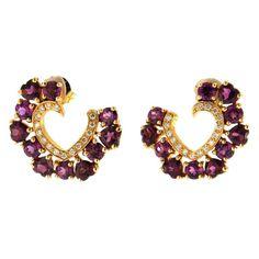 Jona Rhodolite Diamond Gold Open Heart Stud Earrings | From a unique collection of vintage stud earrings at https://www.1stdibs.com/jewelry/earrings/stud-earrings/