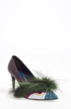 Fendi 'Bugs' Pointy Toe Pump (Women) available at #Nordstrom. The reason I want these shoes: resembling a peacock and something Samantha/Carrie would wear from SATC