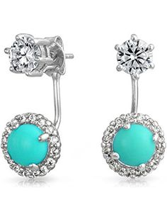 Bling Jewelry Dyed Reconstituted Turquoise Clear CZ Rhodium Plated Brass Ear Jacket Earrings ❤ Bling Jewelry
