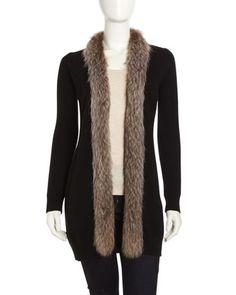 Cashmere Fur-Trim Long Cardigan, Black by Neiman Marcus at Neiman Marcus Last Call.