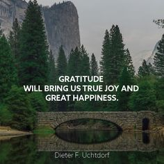 """President Dieter F. Uchtdorf: """"Gratitude will bring us true joy and great happiness."""" #lds #quotes"""