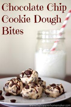 Chocolate Chip Cookie Dough Bites recipe by Melissa from The Happier Homemaker (guest post)