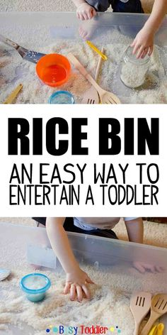 Rice Bin Sensory Play Activity A simple to set up toddler activity using rice. Toddlers love having a rice bin - easy sensory play that costs little to no money to set up & lasts forever. Infant Activities, Summer Activities, Preschool Activities, Indoor Toddler Activities, 2 Year Old Activities, Babysitting Activities, Children Activities, Toddler Play, Toddler Learning