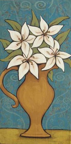 """""""MY LILY WHITES"""" Whimsical Floral Art, Painting by Annie Lane Folk Art  www.yessy.com/annielane"""