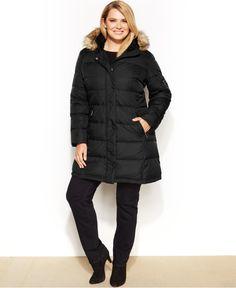 DKNY Plus Size Faux-Fur-Trim Hooded Down Puffer Coat - Coats - Women - Macy's
