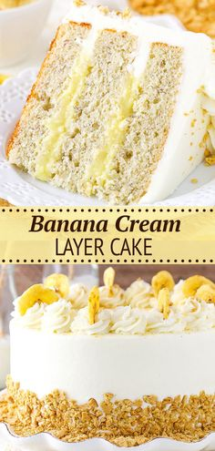 This Banana Cream Layer Cake is moist, delicious and filled with homemade pastry cream. The flavors and textures are just perfect together. It's one of the best banana cakes I've ever made! Delicious Cake Recipes, Best Cake Recipes, Banana Recipes, Yummy Cakes, Dessert Recipes, Best Banana Cake Recipe Moist, Homemade Banana Cake Recipe, Banana Cream Desserts, Yummy Food