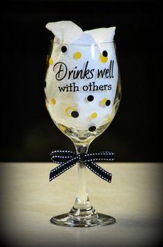 $7.00 wine glass Black/Yellow.  Premium outdoor vinyl used.  Dishwasher safe.   https://www.facebook.com/photo.php?fbid=424350547658367=a.349829548443801.83009.349804128446343=1