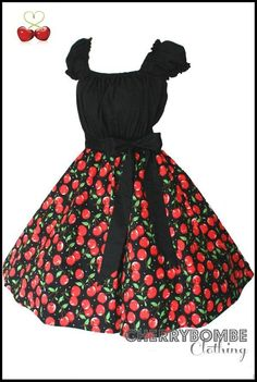 Our .99c Auction of The Week! Vintage 50s style CHERRY Swing Dress PLUS Size 24 26 28 Rockabilly, Retro, PinUp, Wedding, Circle Skirt, Party, Circle Skirt