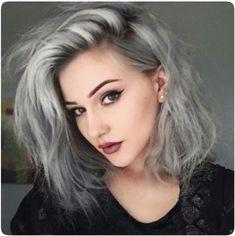 kimmyschram again, gorgeous; grey hair, perfect makeup