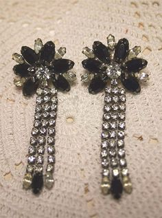 Rhinestone Dangle Earrings Pierced Black by ClothesClosetBoutiq