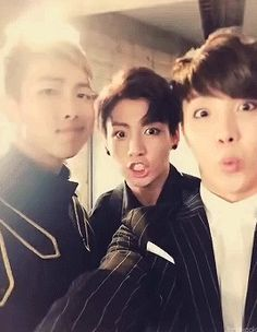 (R to L) Rap Monster, Jungkook, Jhope