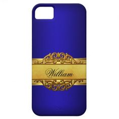 Elegant Classy Royal blue Gold Cover iPhone 5 Cases by Zizzago.com