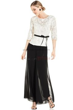 Elegant three quarter sleeve Black mother of the bride pant suits with lace jacket nmo-019