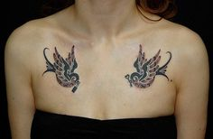 Swallow tattoo on chest - 50 Lovely Swallow Tattoos  <3 <3