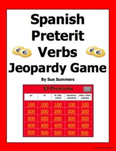 Spanish Preterit Verbs Jeopardy Game by Sue Summers - Spanish Games - This PowerPoint Jeopardy game contains 25 different regular verbs for students to conjugate in the preterit tense.