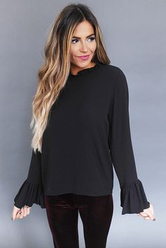 93d9621090144 Ruffle Detail Blouse- Black - Dottie Couture Boutique