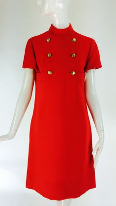 1960s Geoffrey Beene coral red wool crepe mod shift dress | From a collection of rare vintage day dresses at https://www.1stdibs.com/fashion/clothing/day-dresses/