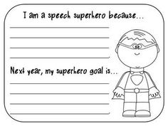"""Free! Celebrate end of year....boy superhero writing sheet and 1 girl superhero writing sheet for students to reflect on their progress and goals for next year, as well as 2 """"high five"""" hands (big and little) and 2 """"shoot for the stars"""" stars"""