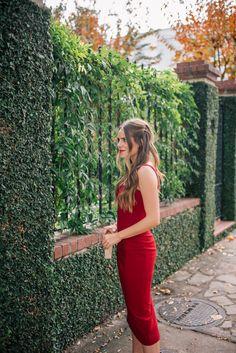 "Gal Meets Glam The Red Dress - Cinq A Sept dress, Edie Parker clutch, Oscar De La Renta earrings & Bobbi Brown lipstick in ""Red"""