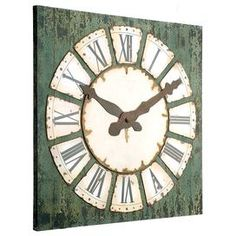 "Bring a touch of charm to your home with this eye-catching accent. Product: ClockConstruction Material: Metal and woodColor: Distressed greenFeatures:  Charming designWill enhance any setting Dimensions: 48"" H x 47.3"" W x 1.5"" D Note:  Batteries not included"