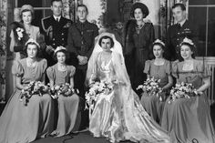 Bridesmaid duties: The wedding group at the reception held at Broadlands, the Mountbatten home, Princess Elizabeth bottom right. Royal Wedding Gowns, Royal Weddings, Wedding Bride, 40s Wedding, Wedding Reception, Wedding Parties, Princess Alexandra, Princess Elizabeth, Princess Victoria