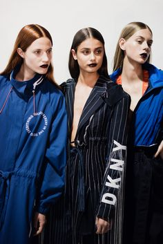 CR Fashion Book BACKSTAGE AT DKNY SPRING 2017 SS17 Taylor Hill Pinstripped DKNY blazer.