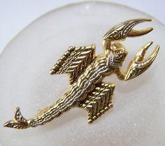Vintage Damascene Lobster Pin Gold Tone Brooch by GretelsTreasures