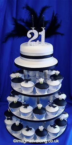 black and white fondant cake and cupcakes for 21st birthday