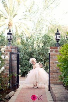 Sweet Sophistication Flower Girl Dress, shown in Peach In Stock • $130 (was $150)