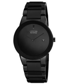 Citizen Men's Eco-Drive Axiom Black Ion-Plated Stainless Steel Bracelet Watch 40mm AU1065-58E - Watches - Jewelry & Watches - Macy's