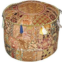 indian vintage ottoman pouf cover ,patchwork ottoman, living room patchwork foot stool cover,decorative handmade home chair cover 14x22x22 inch. #indianhomedecor