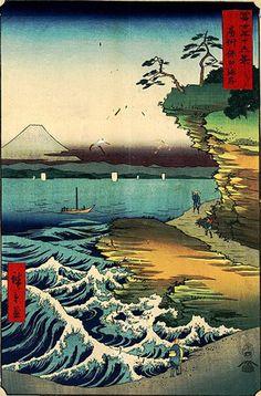 Hiroshige Utagawa se fait l'humble interprète de la nature, qui, à l'aide des moyens frustes de la gravure sur bois, sait exprimer comme à travers « une fenêtre enchantée » les délicates transparences de l'atmosphère au fil des saisons, dans des paysages où l'homme est toujours présent. Ces œuvres se caractérisent par la maîtrise subtile des couleurs franches - avec la domination du vert et du bleu - et son sens du premier plan.