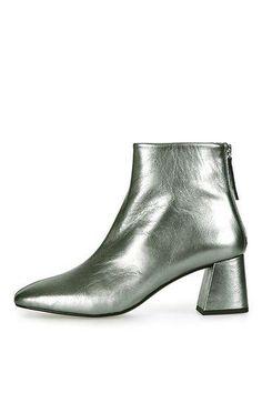 MAGGIE Flared Heel Metallic Boots from Topshop $140