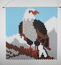 Items similar to Handmade American Bald Eagle Beaded Banner with Nylon Cord Hanger on Etsy Pony Bead Patterns, Peyote Patterns, Beading Patterns, Pony Bead Crafts, Seed Bead Crafts, Leprechaun, Beaded Banners, Melting Beads, Native Beadwork