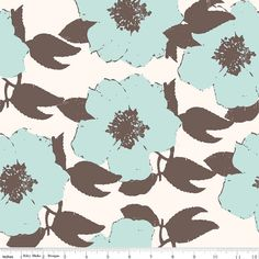 SALE/CLEARANCE Riley Blake Designs Paris And by luckykaerufabric (Craft Supplies & Tools, Fabric, riley blake, cute, kawaii, coordinate, floral, blue, brown, carina gardner, large)