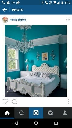 75 brilliant blue bedroom ideas and 27 best paint colors for small rooms bedroom design ideas on we heart it 27 bedroom color binations for [. Turquoise Walls, Bedroom Turquoise, Turquoise Accents, Turquoise Wallpaper, Light Turquoise, Best Paint Colors, Bedroom Paint Colors, Teal Paint, Girls Bedroom Ideas Paint