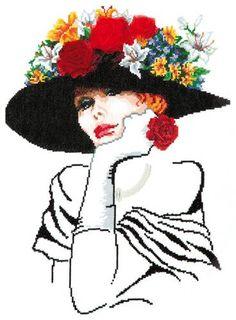 0 point de croix portrait femme au chapeau - cross stitch lady with hat