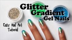 nail art designs braid fashion makeup Glitter Gradient Gel Nails with Loose Glitter (easy nail art tutorial) Glitter Gel Polish, Gel Nail Polish Colors, Uv Gel Nails, Gel Nail Art, Easy Nail Art, Diy Nails, Gradient Nails, Nail Nail, Nail Tech