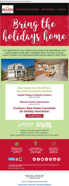 New Homes for Sale in Rancho Cordova, California  Sacramento area homes from the $270s  Broker's Welcome!  Contact the New Home Counselor for holiday incentives!  16 Quick Move-in Homes your clients can call home for the holidays.  https://www.beazer.com/search-CA-sacramento