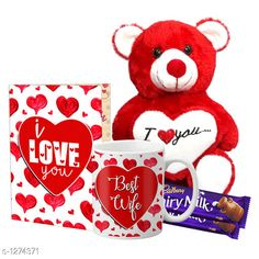 Accessories Delight Gifts(Pack Of 4)  Material: Mug - Ceramic Greeting Card - Paper Teddy Bear - Imported Size : Greeting Card : A4 Teddy Bear - 6 in           Capacity : Mug - 325 ml Description: It Has 1 Piece Of Mug & 1 Piece Of Greeting Card & 1 Piece Of Teddy Bear & 2 Pieces Of Chocolate Work : Mug - Printed Greeting Card - Printed Country of Origin: India Sizes Available: Free Size   Catalog Rating: ★4.1 (1537)  Catalog Name: Delight Gifts Combo Vol 8 CatalogID_161917 C127-SC1621 Code: 063-1274371-108