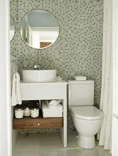 Green subway tile bathroom ideas green bathroom tile bathrooms with Half Bathroom Decor, Half Bathroom Remodel, Shower Remodel, Bathroom Interior, Bathroom Green, Bathroom Ideas, Small Half Bathrooms, Tiny Bathrooms, Small Bathroom